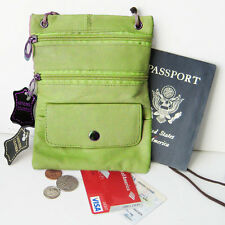 GREEN Soft Leather Passport ID Holder Neck Pouch Travel Cross Body Strap Bag