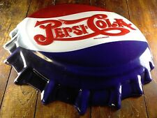 PEPSI COLA SODA POP HIGHLY EMBOSSED BOTTLE CAP SHAPED METAL ADVERTISING SIGN