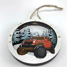 Wood Carved Red Jeep TJ Wrangler Rubicon Painted 3D Scene Christmas Ornament NEW