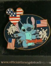 DISNEY DLR PATRIOTIC STITCH WITH AMERICAN FLAGS AND FIREWORKS DISNEYLAND PIN