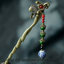 Chinese Style Red Agate/Green Stone/Blue White Porcelain Bead Hairpin Hair Clasp