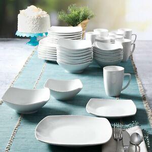 40-Piece Dinnerware Set White Ceramic Kitchen Dish Square Dinner Plates Mugs