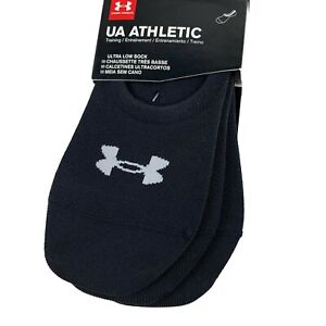 Under Armour Athletic Ultra Low Liner Socks 3 Pair Black w/ Silicone Heel Grip