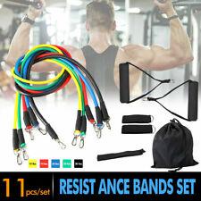 11Pcs Set Resistance Bands Workout Exercise Yoga Crossfit Fitness Training AC