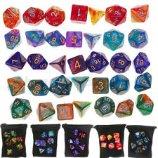 Acrylic Polyhedral Dice w/ Bag for DND RPG MTG Role Playing Board Game