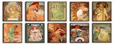 TIME4BILD Alfons Mucha Vier Jahreszeiten Jugendstils 10 BILDER 30x30 cm LEINWAND