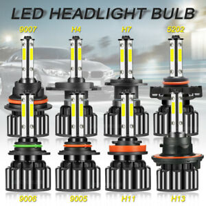 200X 9005 9006 5202 H4 H7 H11 H13 9007 4-Sides LED Headlight Bulb 6000K White US