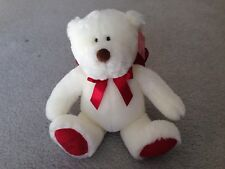 USED Gund Godiva Plush Teddy Bear 2008 White Red Valentine's Day