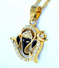 Ganesh Om Gold Coloured Pendant with Faux Crystals 1.9 x 1.9 cm