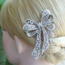 "Elegant 4.13"" Clear Austrian Crystal Bowknot Hair Comb Wedding Headpiece 05823C1"