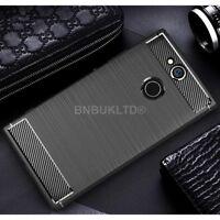 For Sony Xperia XA2 Ultra Carbon Fibre Gel Case Cover & Glass Screen Protector