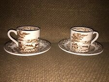 SWINNERTONS LTD SILVERDALE DEMITASSE CUP & SAUCER SET x 2 rare BROWN & WHITE