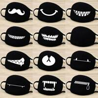 Women Men Solid Black Cotton Face Masks Pattern Mask Half Face Mouth Muffle