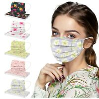 50x Erwachsene Blumen Gedruckte Gesichtsvisier 3-lagig Atmungsaktive Maske