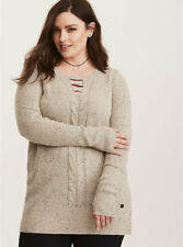 New TORRID OUTLANDER Gray Speckled Cable Knit Tunic Sweater Womens sz 5 NWT 8530