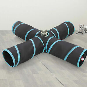 Practical Cat Tunnel 4-Way Foldable Pet Toy Tunnel Rabbit Cat and Dog Game