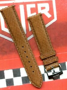 19mm Genuine Light Brown Snake Skin MB Strap Leather Lined, Pre TAG Heuer Buckle
