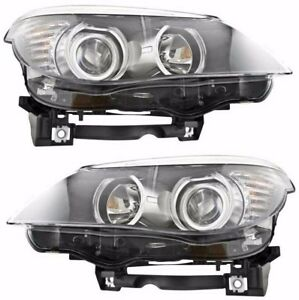 BMW 5 SERIES E60 2008-2010 HALOGEN ONLY HEADLIGHTS HEAD LIGHTS LAMPS PAIR NEW