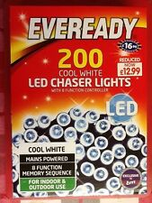 Eveready 200 Cool White LED Chaser LUCI. Nuovo di zecca.