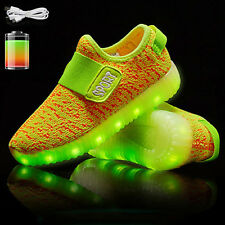 USB Charge LED Flash Light Shoes Kids Boys & Girls Casual Trainers Sneakers LOT
