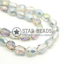 70 X FACETED TEARDROP CRYSTAL GLASS BEADS GREY AB - 5X7MM