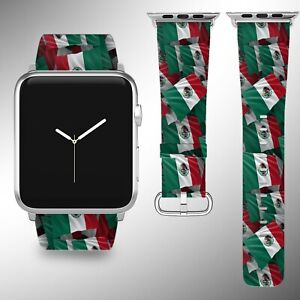 Mexico Flag Apple Watch Band Series SE 6 5 4 3 Leather 40 44 38 40 mm FB