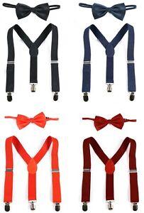 Kinder Fliege Hosenträger Set Hochzeit Anzug Schlips einfarbig Jungen Y-Form