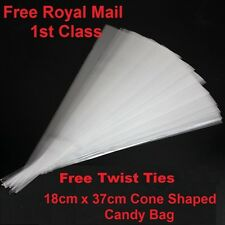 100 Quality Clear  Cone Cellophane Sweet / Party  Bags
