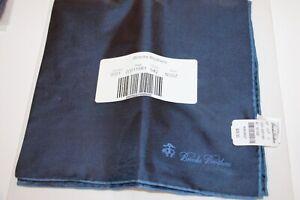 Brooks Brothers Dark Blue Pocket Square Handkerchief 100% silk NEW
