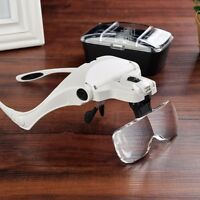 LED Luz Cabeza Headband Joyero Lupa Magnifier Magnifying Vidrio Gafas + 5 Lentes