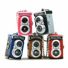 Double Twin Lens Reflex Camera Style LED Flash Light Shutter Sound Key Chain