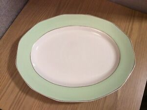 Royal Tudor Ware Barker Bros Vintage Green & White Oval Plate with Gilded Edge