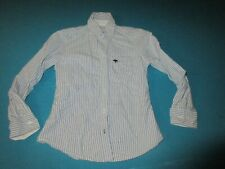 ABERCROMBIE Boys Blue White Striped Long Sleeve Shirt Size Small S