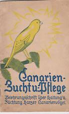 Kanarienzucht und Pflege Belehrungsschrift Harzer Kanarienvögel 1924 Rar! 1x KVK