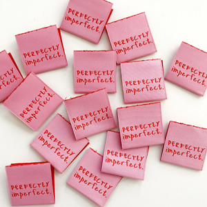 """"""" Perfectly Imperfect """"  Sew In Woven Tags - Clothing Labels pack of 8 by KATM"""