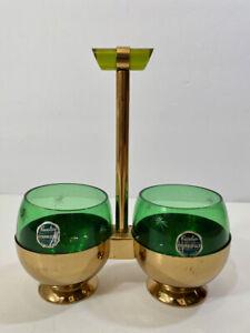 Vintage Art Deco Emerald Glo Green Glass Apple Bakelite Handle Condiment Set