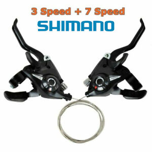 2Pcs Bicycle Mountain Bike Brake Gear Shifters Lever Transmission 3 + 7 Speed
