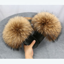 2020 New Womens Real Fox Fur Slides Slider Summer Slippers Sandals Furry Shoes