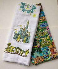 Disney Parks Magic Kingdom Map Collage with Castle Kitchen Dish Towel Set NEW