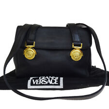 Auth GIANNI VERSACE Medusa Mini Shoulder Bag Leather Black Gold-Tone 67E278