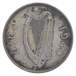 SILVER Roughly Size of Quarter 1940 Ireland 2 Scilling World Silver Coin *066