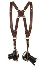 Coiro Leather Dual Camera Strap Harness Quick Release Brown Shoulder Adjustable