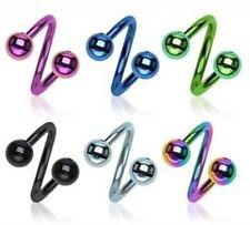 14G 16G Titanium IP Twist Circular Barbell w/ Ball Lip Earring Belly Navel Ring
