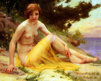Art Oil painting wonderful - Lesbian Nude on the Beach in sunset canvas