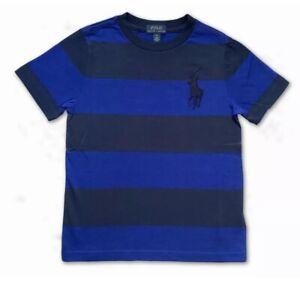 New Polo Ralph Lauren Short Sleeve T Shirt Top Blue Striped Multi Big Pony Age 6