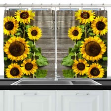 """Sunflowers On Wooden Board Kitchen Curtains Window Drapes 2 Panels Set 55*39"""""""