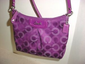 COACH Signature Pleated Nylon Crossbody Small Bag Amethyst W Mini Hangtag
