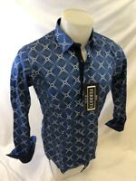 Mens FERRETI By BARABAS Designer Dress Shirt Woven BLUE GEOMETRIC SLIM FIT 4312