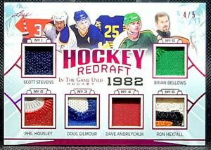 LEAF HOCKEY REDRAFT 1982 /5 GILMORE HEXTALL BELLOWS +3 6 AMAZING PATCHES