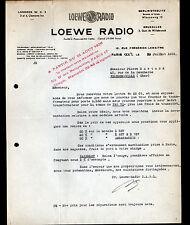 """PARIS (XX° & XVII°) RADIO T.S.F. """"LOEWE RADIO"""" en 1936"""